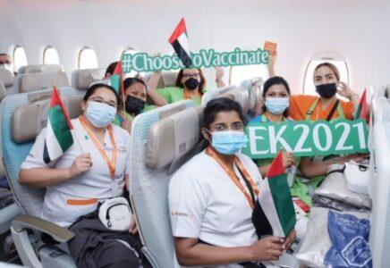 Emirates, un volo speciale per celebrare i progressi del programma di vaccinazione