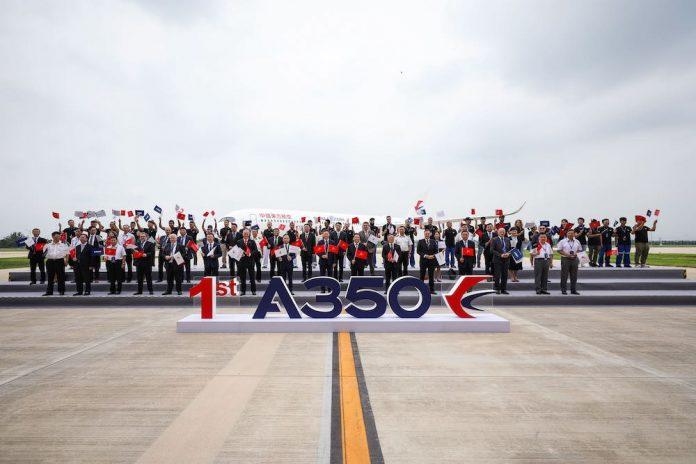 Airbus consegna il primo A350 dal suo centro di completamento e consegna per widebody in Cina
