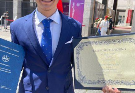 Laureato a Torino il più giovane ingegnere del Politecnico, soli 21 anni. Roberto Nicola Sollazzo
